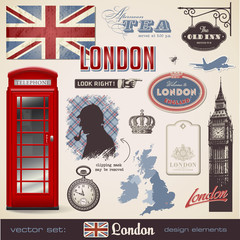 vector set: London design elements
