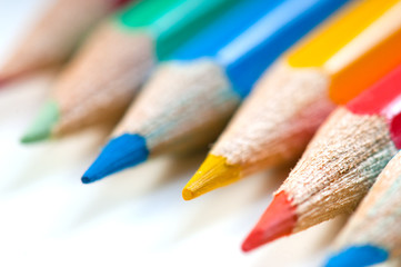 Color pencils on a white