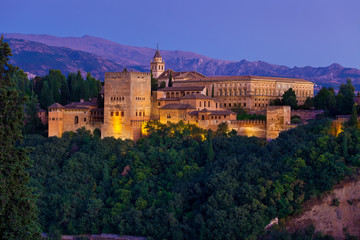 Wall Mural - Alhambra de Granada, panoramic of Nasrid Palaces at dusk