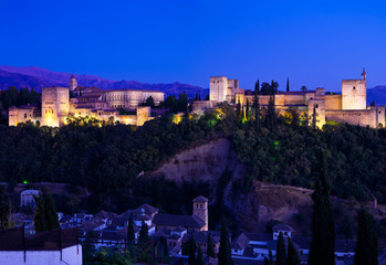 Wall Mural - Alhambra de Granada, giant panoramic at dusk. 8175x5616 p.
