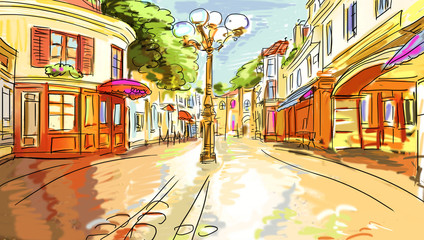 Photo sur Plexiglas Illustration Paris old town - illustration sketch