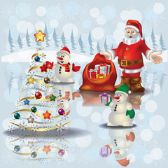 Christmas greeting with snowmen and Santa Claus