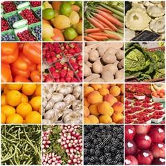 Collage fruits et légumes carré