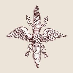 Vintage emblem - hand draw sketch
