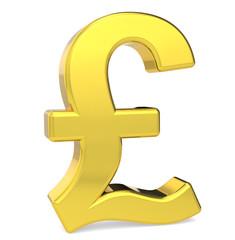 GBP. British Pound symbol. Gold color. Standing