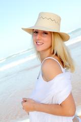 Beautiful blond woman at the beach
