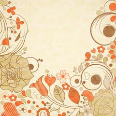 Fototapete - Vintage floral background