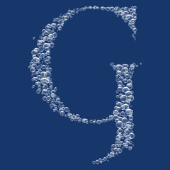 G Letter created from bubbles in water