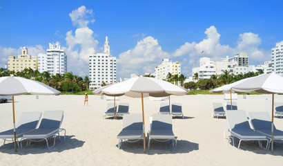 Miami South Beach Lounge Chairs and Umbrellas