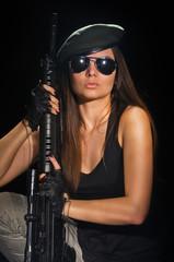 army girl in glasses