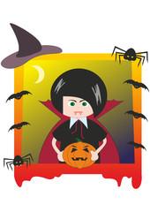 Halloween. Boy dressed as Dracula