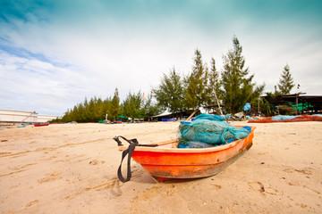 Orange fishing boat