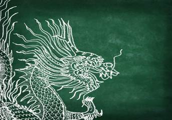 dragon ,drawing with chalk on chalkboard