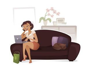 Femme surfant sur internet