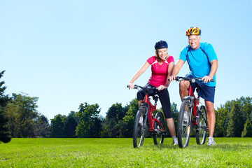 Wall Murals Cycling Riding couple.