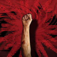 Battle fist on red action background