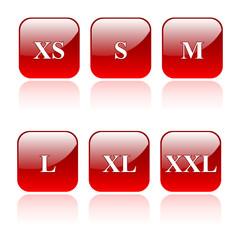 Konfektionsgrößen - Icons Rot