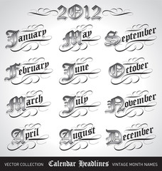 vintage calendar month titles (vector)