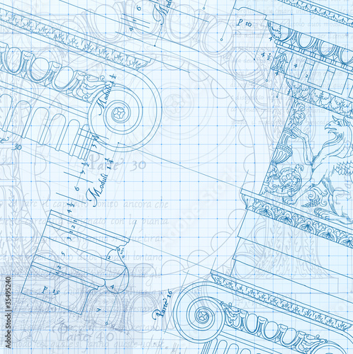 Hand draw sketch ionic architectural blueprint stock image and hand draw sketch ionic architectural blueprint malvernweather Image collections