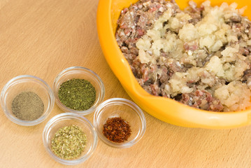 forcemeat with spices and rice for stuffing peppers
