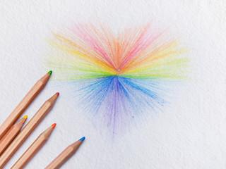 art Rainbow hearts on white paper