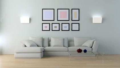 Interno con divano bianco 3d