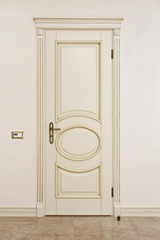 White classic door in empty bright room