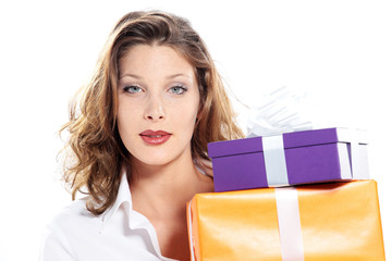 attractive young woman with gift pack, white background