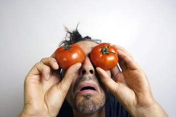 Angst mit Tomaten auf den Augen