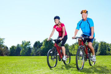 Canvas Prints Cycling Riding couple.