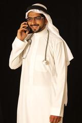 Arab doctor on phone