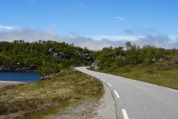 empty mountain road at the norwegian mountains.