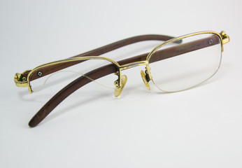 Black eyeglasses with broken lens
