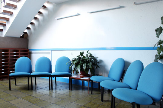 White and Blue Waiting Area