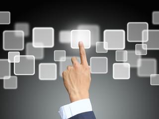 Business hand press touchscreen