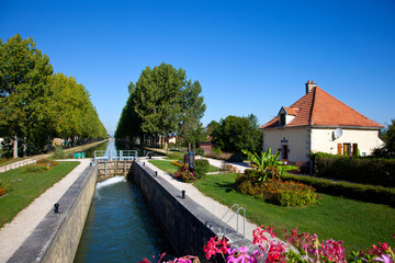 Self adhesive Wall Murals Channel canal de bourgogne