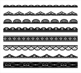 Set of black scalloped vector borders
