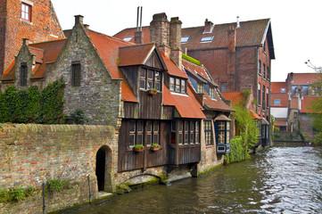 Poster Bridges Classic view of channels of Bruges. Belgium.
