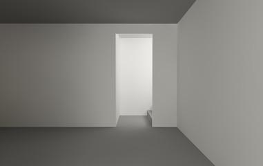 Empty gallery room , minimal architecture white walls 2