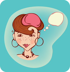 Illustration of a young  thinking woman with thought bubble