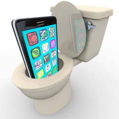 Smart Phone in Toilet Frustrated Old Model Obsolete