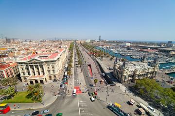 Wide angle shot of Barcelona port
