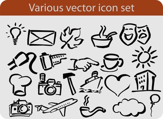 Various hand drawn vector icon and elements set