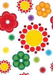 Happy circles and flowers