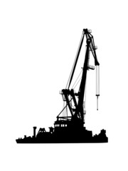 silhouette of floating port crane