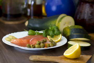 Raw salmon for cooking