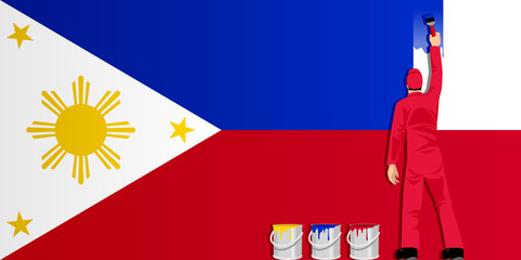 Illustration of a man figure painting the flag of Philippines