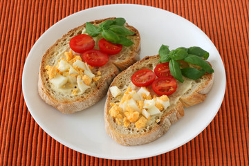 toasts with egg and tomato