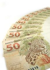 jaguar (panthera onca) artwork on 50 reais banknote from brazil