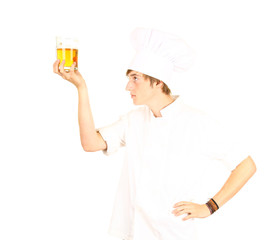 chef in white uniform and hat with beer